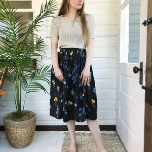 Vintage 50's Homemade Floral Midi Skirt